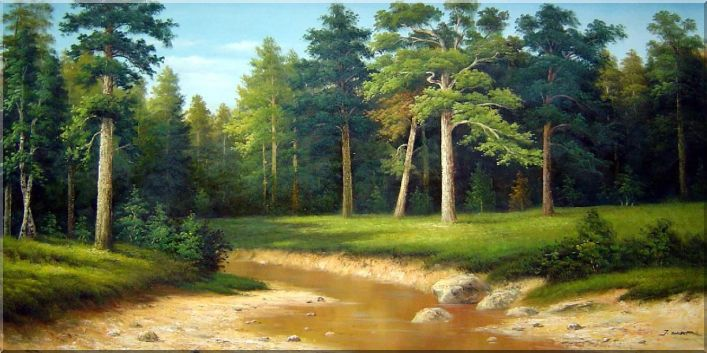 Meandering Stream within Forest Oil Painting Landscape Tree Classic 30 x 60 Inches