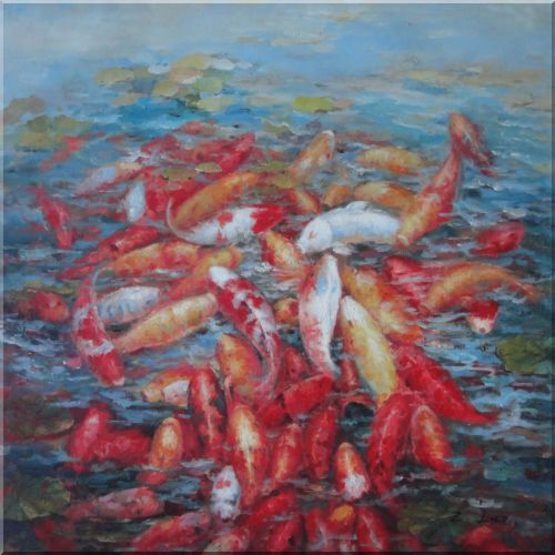 Group of Colorful Koi Fishes in Lotus Pond Oil Painting Animal Marine Life Asian 36 x 36 Inches