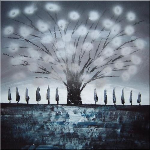 Large Gleaming Gray Tree Oil Painting Landscape Decorative 30 x 30 Inches