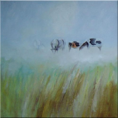 Cattle and Sheep at Wind-Swept Pasture Oil Painting Animal Impressionism 30 x 30 Inches
