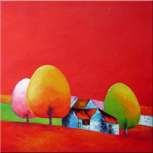 Red Roof Cottage Under Tall Yellow, Pink Trees Oil Painting Landscape Modern 30 x 30 Inches