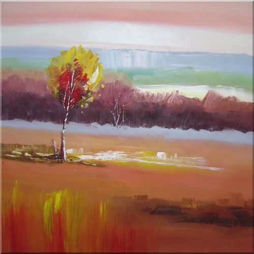 Yellow Trees in Red Landscape - 2 Canvas Set 2-canvas-set,landscape,tree impressionism  30 x 60 inches