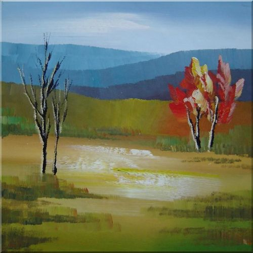 Two Red Trees and Two Leafless Trees in a Yellow Green Landscape Oil Painting Impressionism 30 x 30 Inches