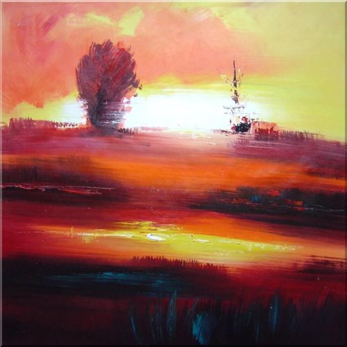 Modern Large Red Seascape in Sunset Painting Oil 30 x 30 Inches