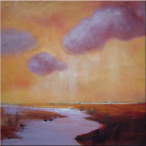 Cloud Over River Oil Painting Landscape Impressionism 30 x 30 Inches