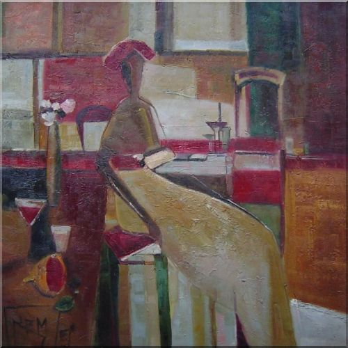 A Lady Sitting On Chair In a Room Oil Painting Portraits Woman Modern 30 x 30 Inches