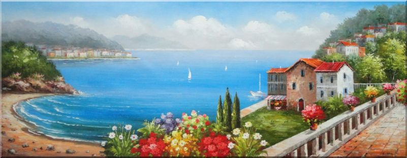 Vacation Villa With Stunning Ocean View to Mediterranean Sea Oil Painting Naturalism 28 x 72 Inches