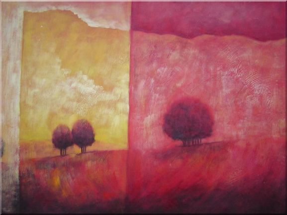 Modern Trees in Red and Yellow Landscape Oil Painting Decorative 30 x 40 Inches