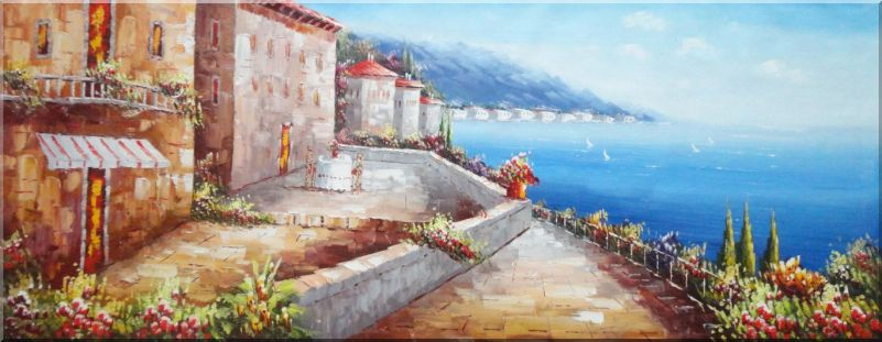 Wish You Were Here Oil Painting Mediterranean Naturalism 28 x 72 Inches