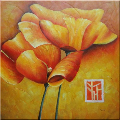 Large Yellow Poppies in Warm Setting Oil Painting Flower Decorative 40 x 40 Inches