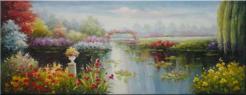 Waterlily Pond with Flowers And Bridge Oil Painting Garden Impressionism 28 x 72 Inches