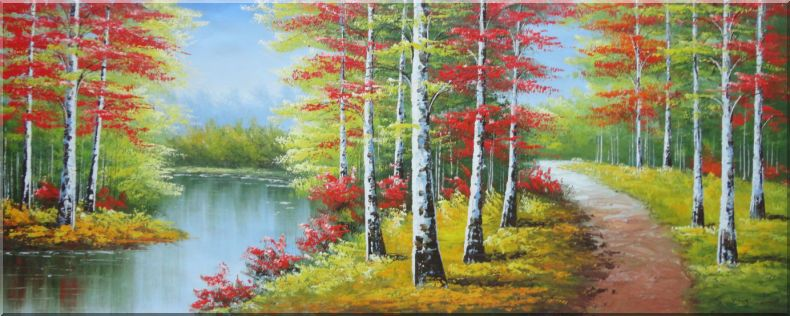 River Trail Beautiful Autumn Fall Forest Scene Oil Painting Landscape Tree Naturalism 28 X 70 Inches