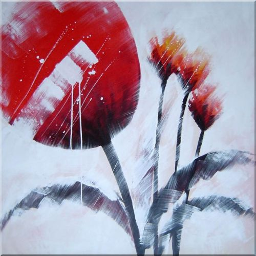 Red Tulip Flowers in Wind Oil Painting Modern 40 x 40 Inches