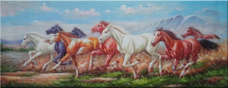 Group of Energetic Wild Horses Galloping Under Mountain Oil Painting Animal Naturalism 28 x 72 Inches