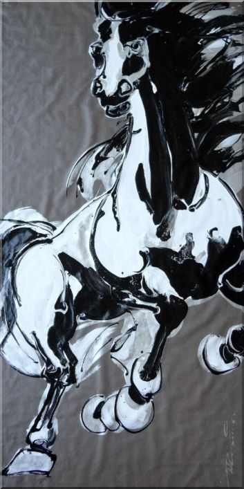 Trudging Horse, Original Huge Black and White Painting Oil Animal Asian 70 x 35 Inches