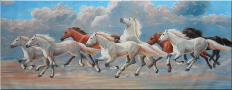 Eight Horses Soaring Across the Sky Oil Painting Animal Naturalism 28 x 72 Inches