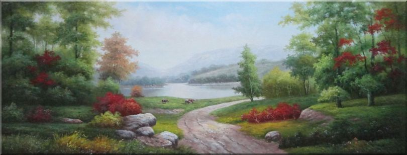 Small Road Along the Lakeside Red Flowers Stunning Peaceful Scenery Oil Painting Landscape River Naturalism 24 x 63 Inches