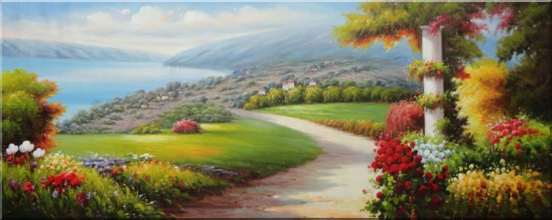 Small Path In Stunning Mediterranean Garden View Oil Painting Naturalism 28 x 70 Inches