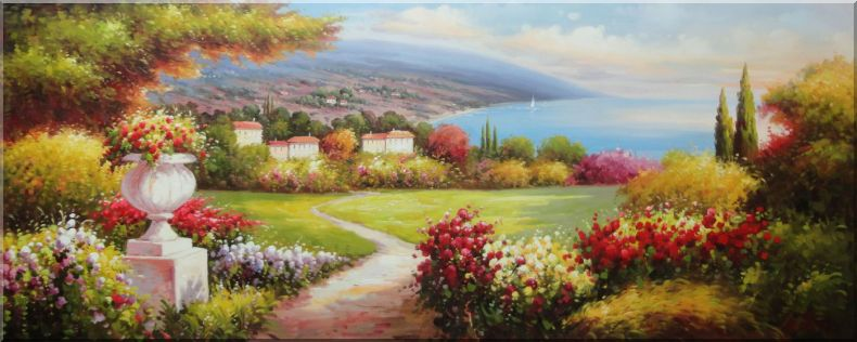 Large Painting of Mediterranean Paradise Oil Naturalism 28 x 70 Inches