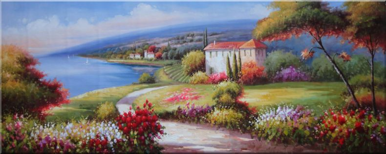 large painting of flower garden at mediterranean coast oil naturalism 28 x 70 inches - Flower Garden Paintings