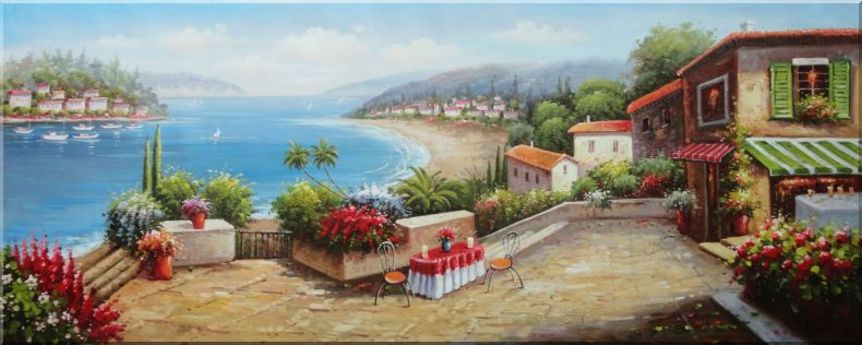 Charming Coastal Vista with Terrace and Stunning Sea views Oil Painting Mediterranean Naturalism 28 x 70 Inches