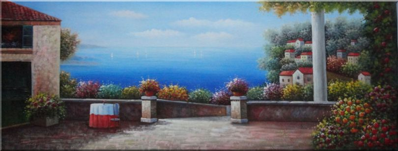Large Size Mediterranean Resort Painting Oil Naturalism 24 x 63 Inches