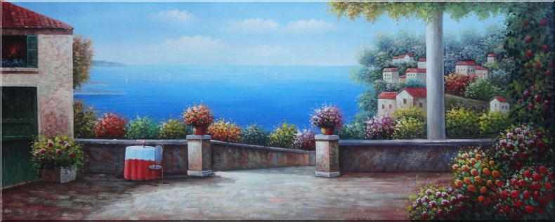 Large Size Mediterranean Resort Painting Oil Naturalism 28 x 70 Inches
