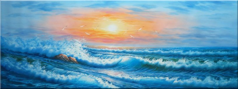 Flying Birds Over Rough Waves in the Sea at Sunset Oil Painting Seascape Naturalism 24 x 64 Inches