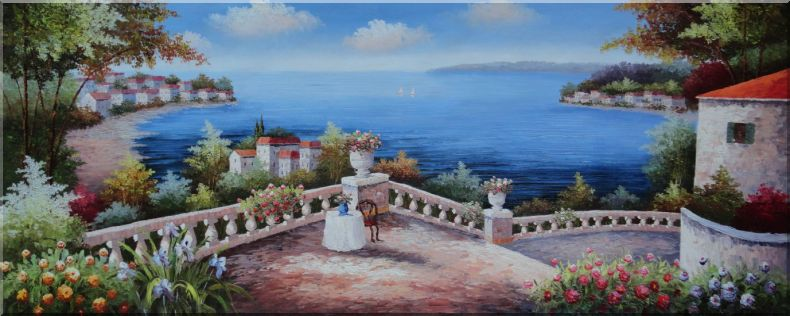 Colorful Mediterranean Retreat with Infinity Views Oil Painting Naturalism 28 x 70 Inches