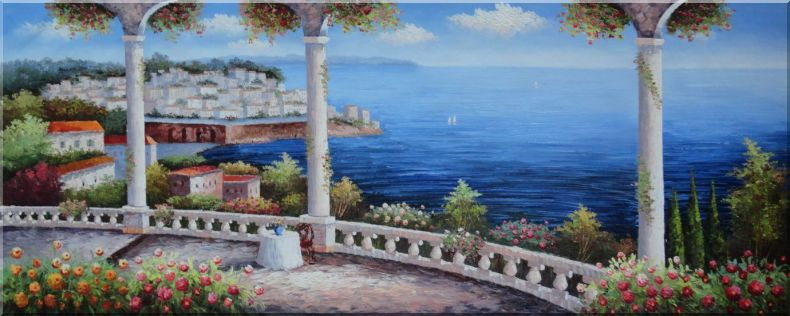 Charming Mediterranean Flower Patio with Stunning Sea View Oil Painting Naturalism 28 x 70 Inches