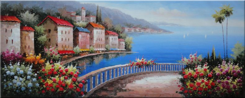 Mediterranean Walkways with Beautiful Flowers Oil Painting Naturalism 28 x 70 Inches