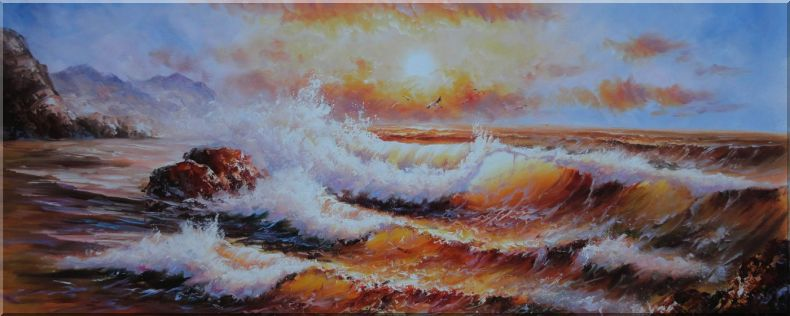 Sea Waves Crashing Rocks, Seagulls, Golden Sunset Oil Painting Seascape Naturalism 28 x 70 Inches