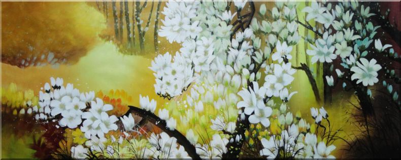 Beautiful Cherry Trees with White Flowers in Yellow Background Oil Painting Landscape Naturalism 28 x 70 Inches