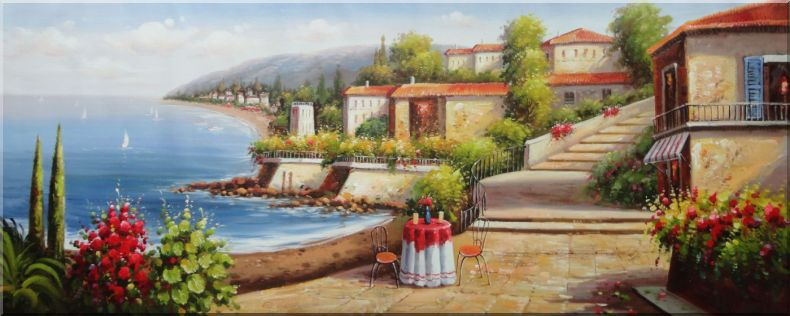 Gorgeous Mediterranean Retreat in A Coastal Village Oil Painting Naturalism 28 x 70 Inches