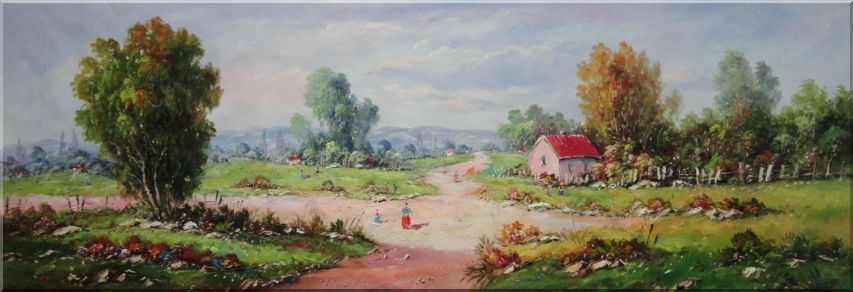 Peaceful Village Path With Leisurely Walking People Oil Painting Impressionism 24 x 70 Inches