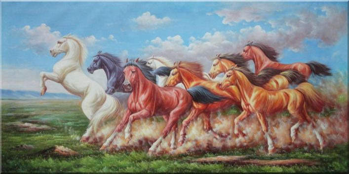 Eight Galloping Horse Herds Running Wild Oil Painting Animal Naturalism 36 x 72 Inches