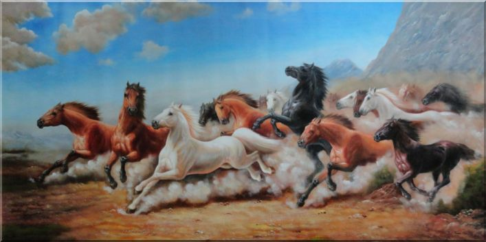 Horses Running Free In the Wild Oil Painting Animal Naturalism 36 x 72 Inches
