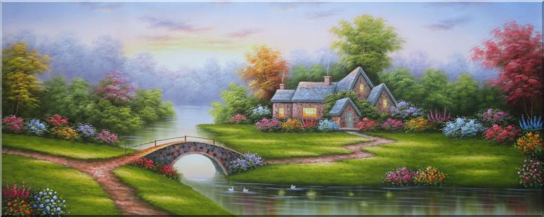 Small Bridge to Cottage With Flowers and Stunning Scenery Oil Painting Garden Naturalism 28 x 70 Inches
