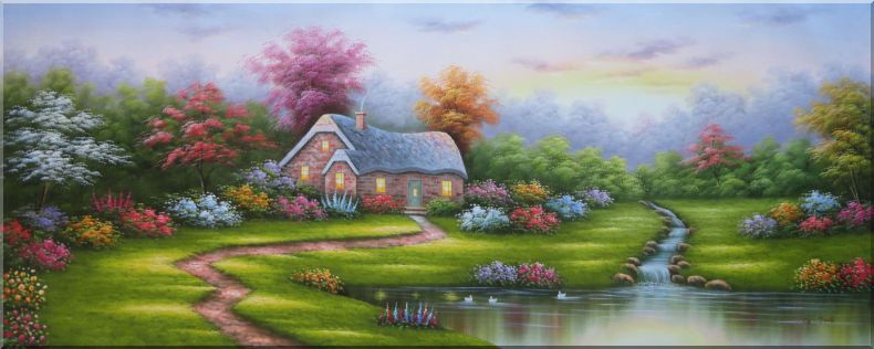 Dream Retreat Cottage with Beautiful Flower Garden Oil Painting Naturalism 28 x 70 Inches