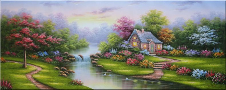 Fairyland with Cottage, Small Waterfall, Colorful Flowers and Green Meadow Oil Painting Garden Naturalism 28 x 70 Inches