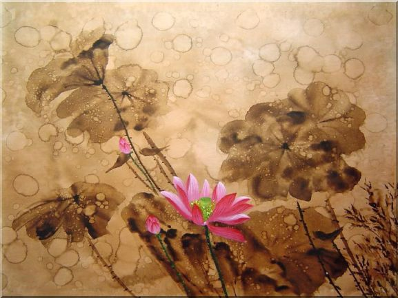 Blooming Fresh Pink Lotus Flower in Rain Oil Painting Asian 30 x 40 Inches