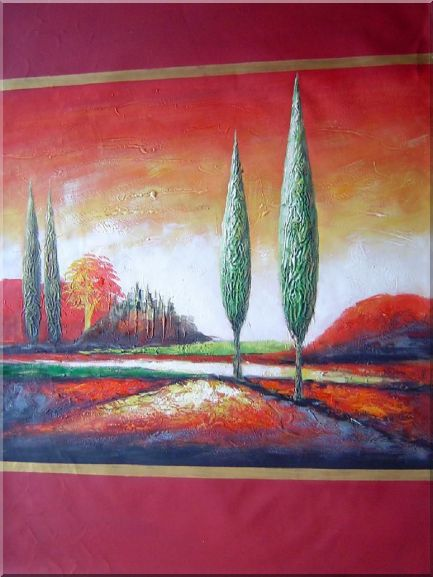 Modern Green Cypress Trees in Red Landscape - 2 Canvas Set 2-canvas-set,landscape,tree modern  40 x 60 inches
