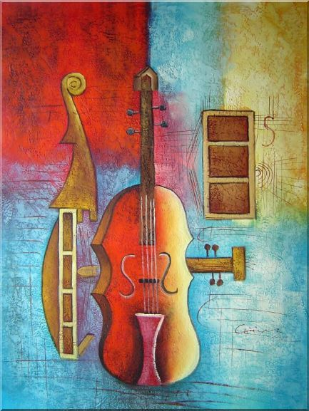 Contrabass String Music Instruments in Modern Setting Oil Painting Still Life 40 x 30 Inches
