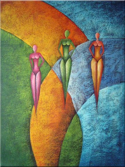 Three Women with Bikini in Green, Purple and Orange Oil Painting Portraits Woman Modern 40 x 30 Inches