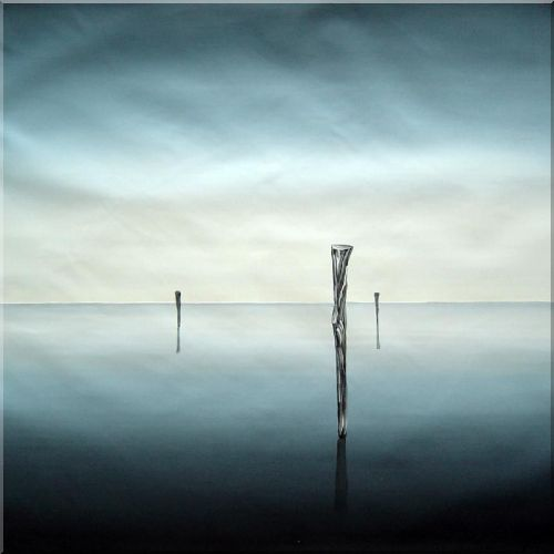 Wooden Poles Immersed in Sea Water - 2 Canvas Set 2-canvas-set,seascape decorative  32 x 64 inches