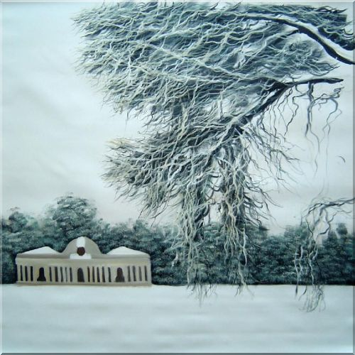 Winter Snow Covered Landscape Scene Oil Painting Tree Decorative 32 x 32 Inches