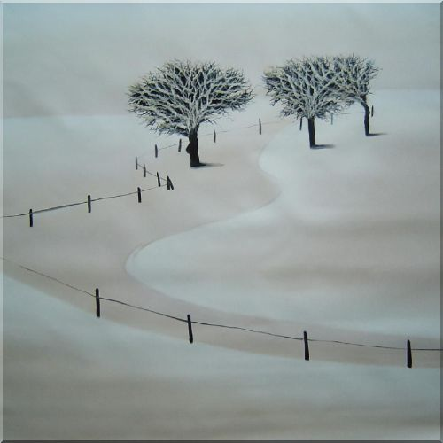 White Snow Covered Farm Land in Winter Oil Painting Landscape Tree Decorative 32 x 32 Inches