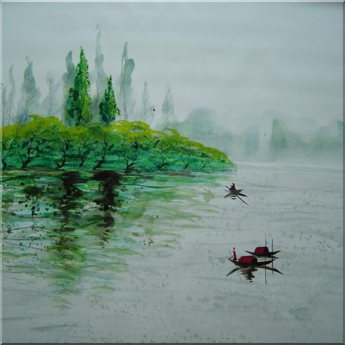 Rowing on a beautiful Lake Oil Painting Landscape River Asian 32 x 32 Inches