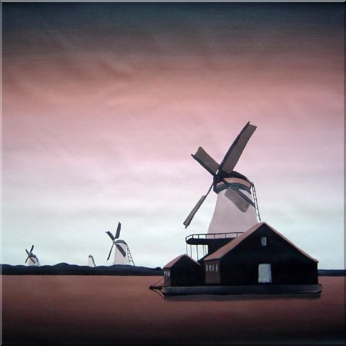 Windmill in Brown Background Oil Painting Cityscape Modern 32 x 32 Inches