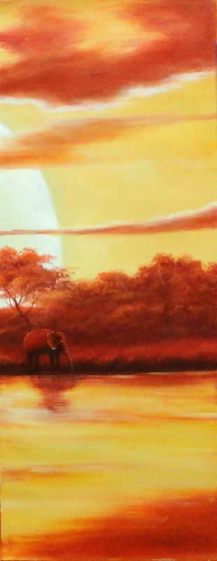 Lakeside Elephants Giraffe Under Golden Sunset  - 5 Canvas Set 5-canvas-set,landscape,animal,elephant decorative  40 x 68 inches